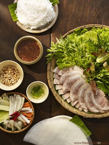 Giò heo luộc chấm mắm tôm chà Client: Phương Nam Book Photograph by: Wing Chan at BITE Studio Food & Prop Stylist: Tiến Nguyên
